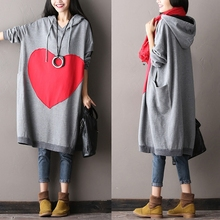 New 2016 woman autuman and winter plus size 100% cotton dress batwing sleeve hooded outerwear elegant long-sleeve shirts