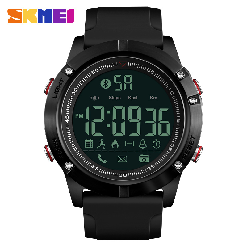 SKMEI Smart Watch Men Bluetooth Sports Waterproof Digital Watch Calories Pedometer Multifunction Reminder Relogio Masculino 1425