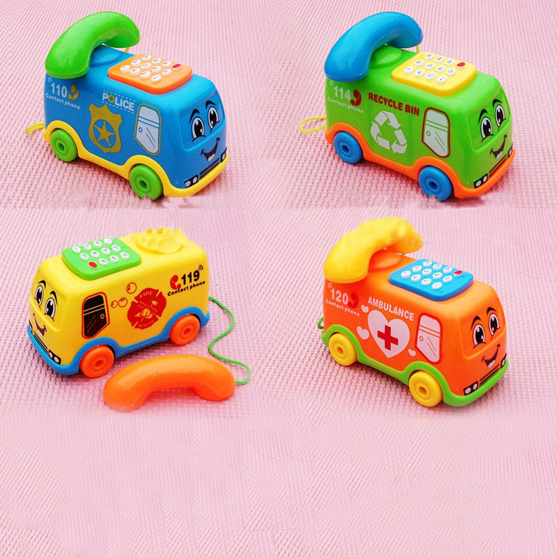1PC Baby Toys Music Cartoon Bus Phone Educational Developmental Kids Toy Gift New Christmas Gifts