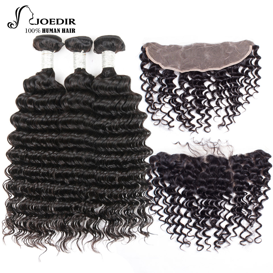 Joedir Brazilian Deep Wave 3 Bundles With Frontal Closure Human Hair Bundles Non Remy Lace Frontal Closure With Bundles