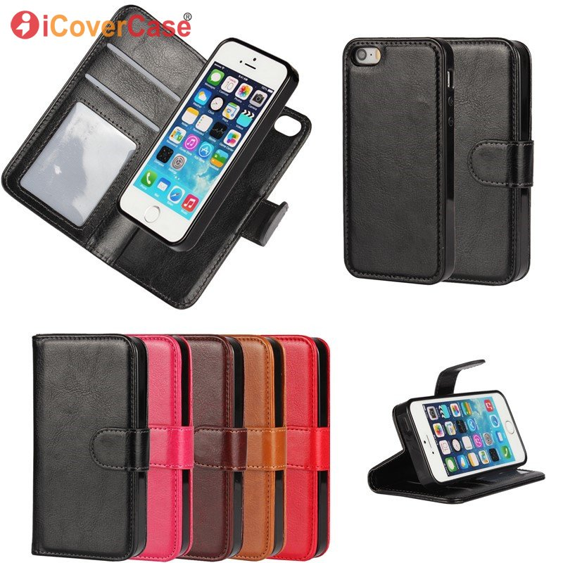 Funda magnética desmontable para iPhone X 7 8 6S Plus SE 5S Funda de cuero billetera 2 en 1 Bolsa Hoesje Etui para iPhone7 Plus 6 5 S Coque