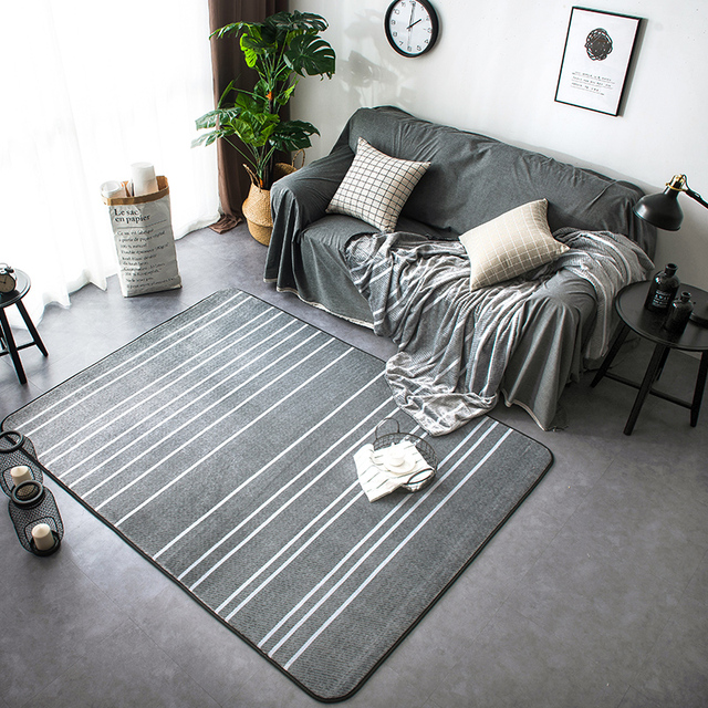 Fashion Modern Simplicity White Striped Grey Living Room Bedroom Decorative Area  Rug Carpet Bathroom Floor Door