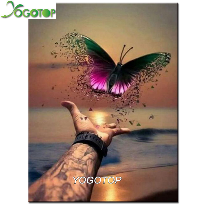 YOGOTOP DIY Diamond Painting Hand Butterfly Full Square/Round Diamond Embroidery Rhinestone Cross Stitch Mosaic Home Decor YY542