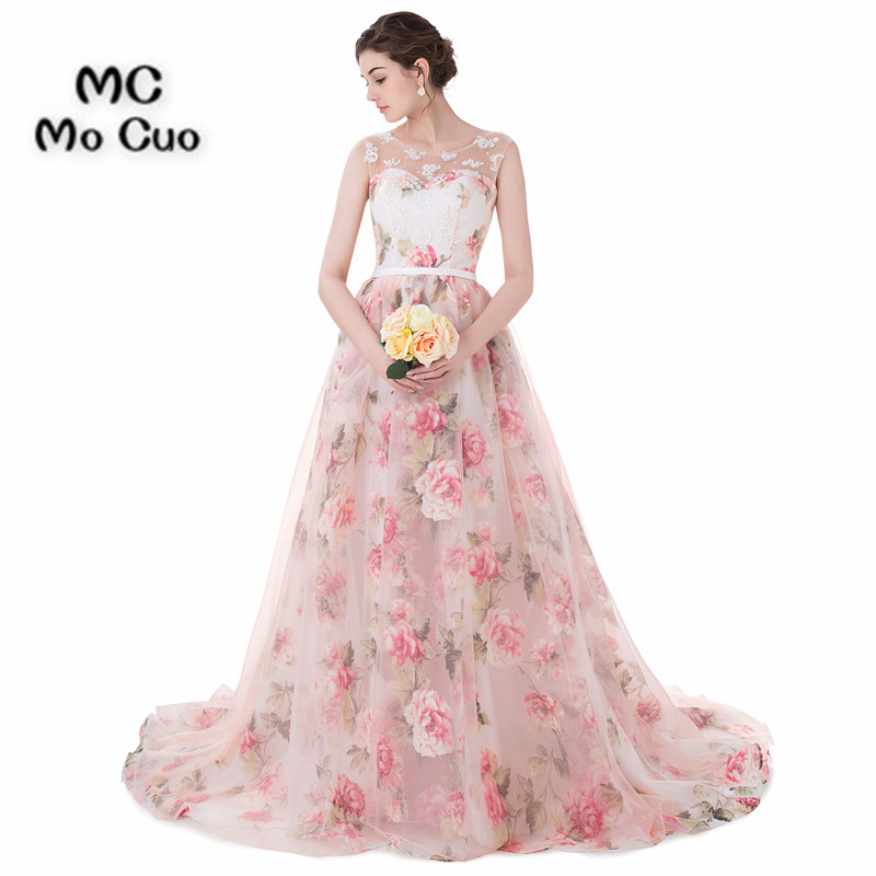 Elegant 2017 Print Pattern Bridal Gowns Robe de mariage Wedding ...