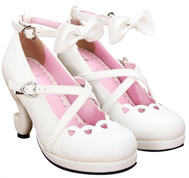 Fille Princesse Coeur Amour Partie Angélique Lady Cosplay Mori Femme Empreinte White 8463 Pompes Talons Chaussures Femmes Mince Lolita Haute Robe ZxTxwaqO