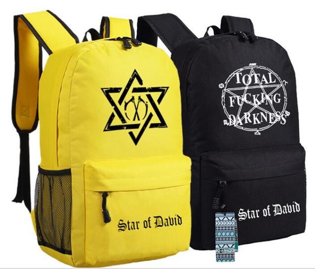 Men Women Total Fucing Darkness Jewish Star Of Dabid Israel Backpack Bag  School Shoulder Students Bag 44491e8213