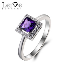 Leige Jewelry Engagement Ring Natural Amethyst Ring Princess Cut Gems February Birthstone Gemstone 925 Sterling Silver Ring Gift