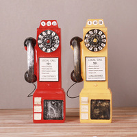 Fashion Resin Creative Telephone Booth New Design Money Box Retro Pattern Saving Pot Home Ornaments