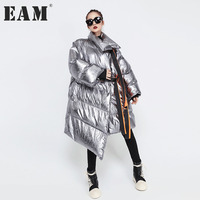 EAM 2017 Winter New Pattern Loose Keep Warm Cotton Padded Fashion Coat Thickening Irregular Long