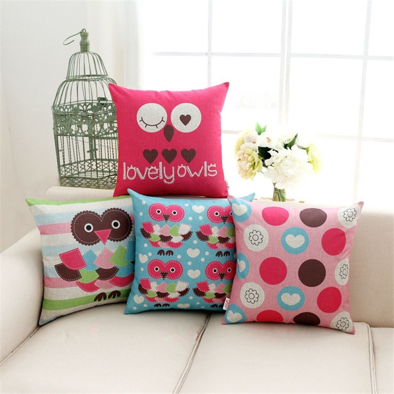 2017 Capa de Almofada Owl Cushion Cover Animal Pillow Case Cotton Linen Abstract Home Decorative Throw Pillow Cover