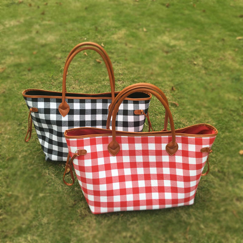 New Red and Black Check Xmas Canvas Tote , Free Shipping Xmas Totes With Lined Leather Trimmed Handles And Bottom DOM-1010377
