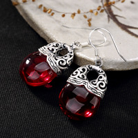 Earings Fashion Jewelry Pure Silver, Hollowed Out Clouds, Antique, High grade Garnet, Pomegranate Red, Lady's Ear Earrings.