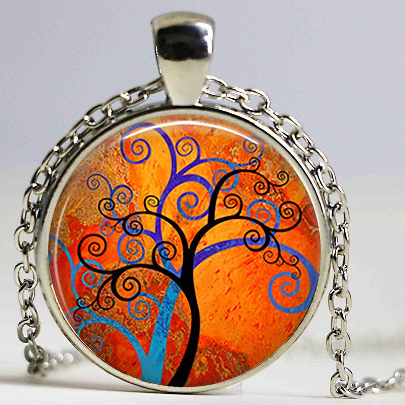 Spiral Tree Art necklace Spiral Tree Art Cabochon Glass Keyring Blue and Orange Tree Modern Art Colorful Tree pendant