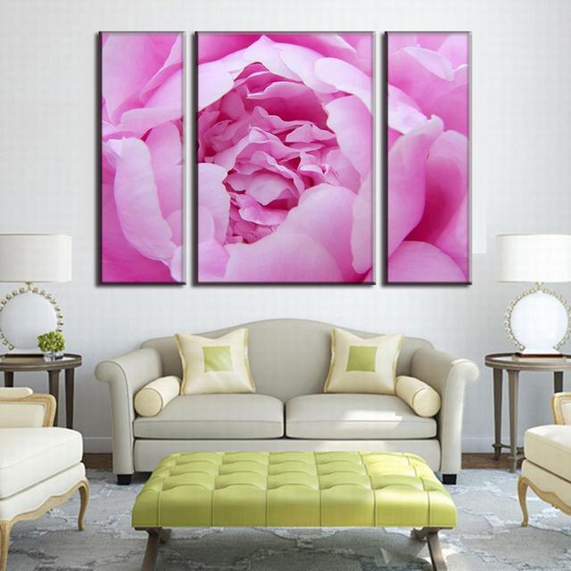 3 Panels Framed Pink Peony Canvas Painting Prints on Canvas For ...