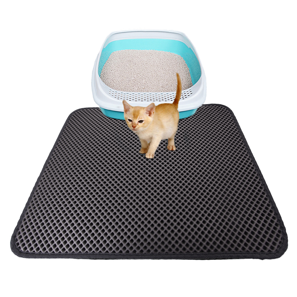 Double-layer Waterproof Cat Litter Mat High Elasticity Eva Foldable Honeycomb Sifting Sanitary Pet Cats Litter Trapper Pad S/m/l