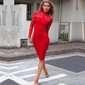 Весна Лето Колющими Bodycon Midi Кружева Женщины Карандаш Dress Solid Sexy Водолазка Полный Рукав Эластичный Пояс Колен Dress