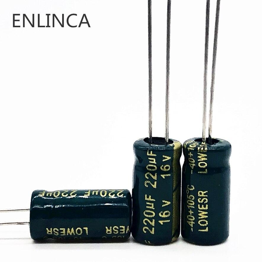 20pcs/lot T09 220uf16V  Aluminum Electrolytic Capacitor Size 6*12 16V 220uf 20%