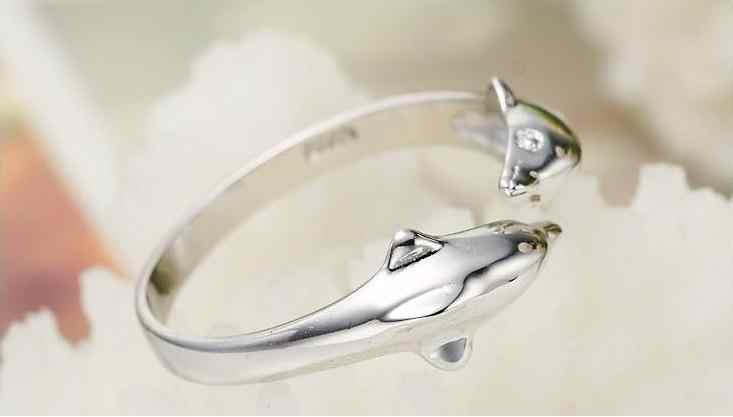 100% 925 เงินสเตอร์ลิงแฟชั่น dolphin สัตว์สาวแหวนเครื่องประดับเปิดแหวนไม่มี drop shipping