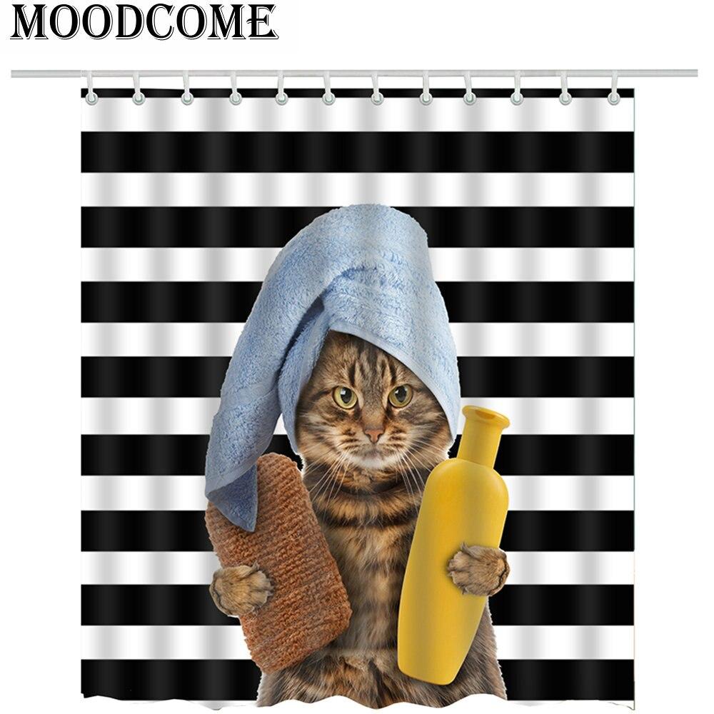 Cat Printed Shower Curtain Bathroom Curtain Cat Take a Bath Curtain Animal Cat Fabric Polyester Bath Shower Curtain Bathroom Cat