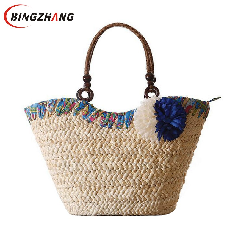 2017 Summer Fresh Style Beach Bags Women Weave Straw Flower Shoulder Bag Famous Brand High Quality Traveling Tote Bags L4-3034 handmade flower appliques straw woven bulk bags trendy summer styles beach travel tote bags women beatiful handbags