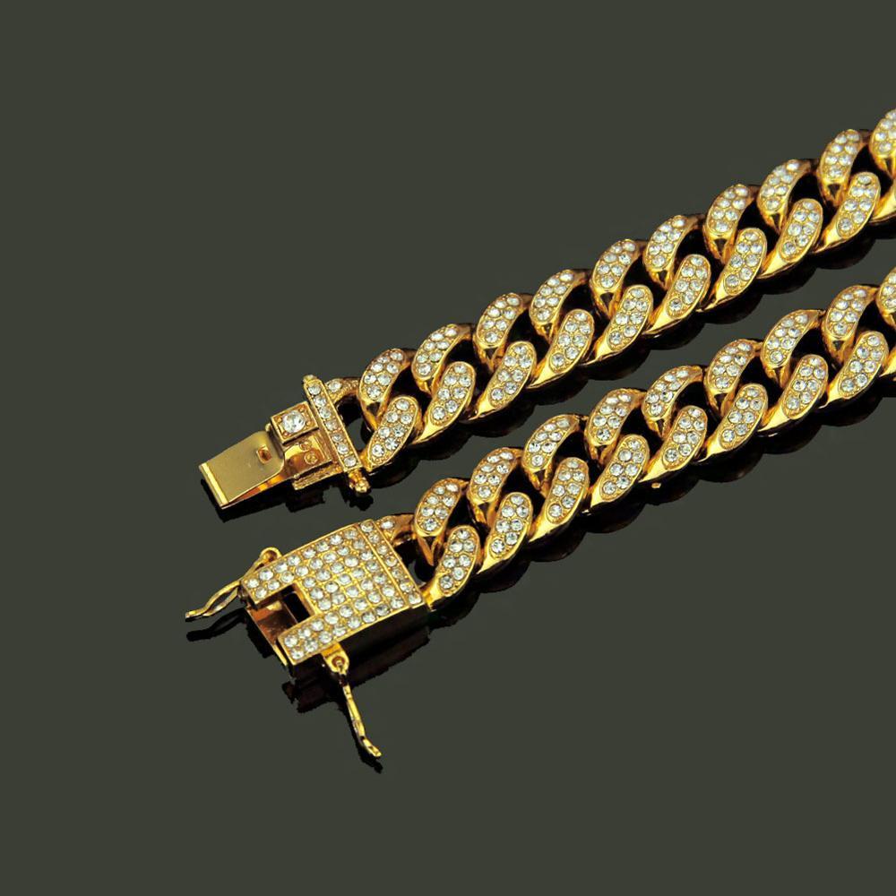 2 pièces/ensemble Hip Hop strass complet glacé Miami gourmette chaîne cubaine collier or pavé CZ Bling colliers pour hommes bijoux - 4