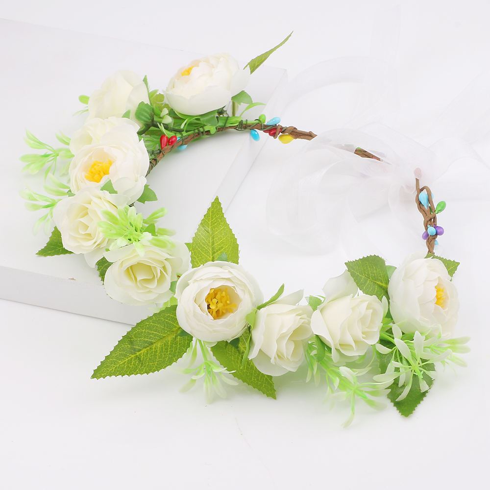 Wholesale white rose flower crown wedding hair accessories flower wholesale white rose flower crown wedding hair accessories flower wreath garlands headband for kids girls in hair accessories from mother kids on izmirmasajfo