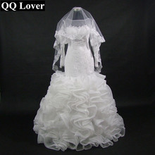 New African Fashion Illusion Long Sleeves Ruffles Mermaid font b Wedding b font Dress With Veil