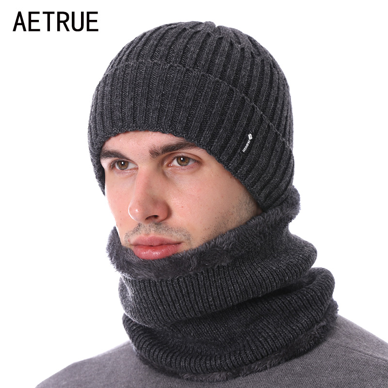 AETRUE Knitted Hat Scarves Men Skullies Beanies Winter Hat For Men Women Bonnet Fashion Brand Gorras Warm Wool Male Beanie Cap