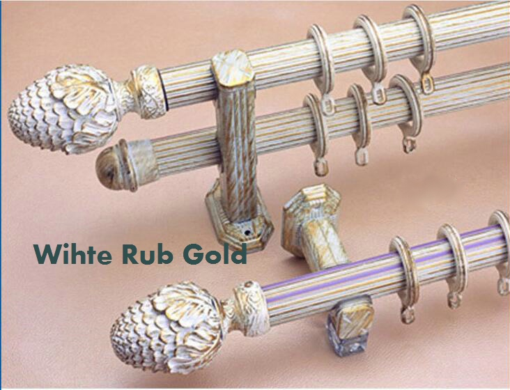 2017 Luxury 33mm Diameter Curtain Poles Aluminum Alloy Antique White Rub  Gold Colors 2*250cm