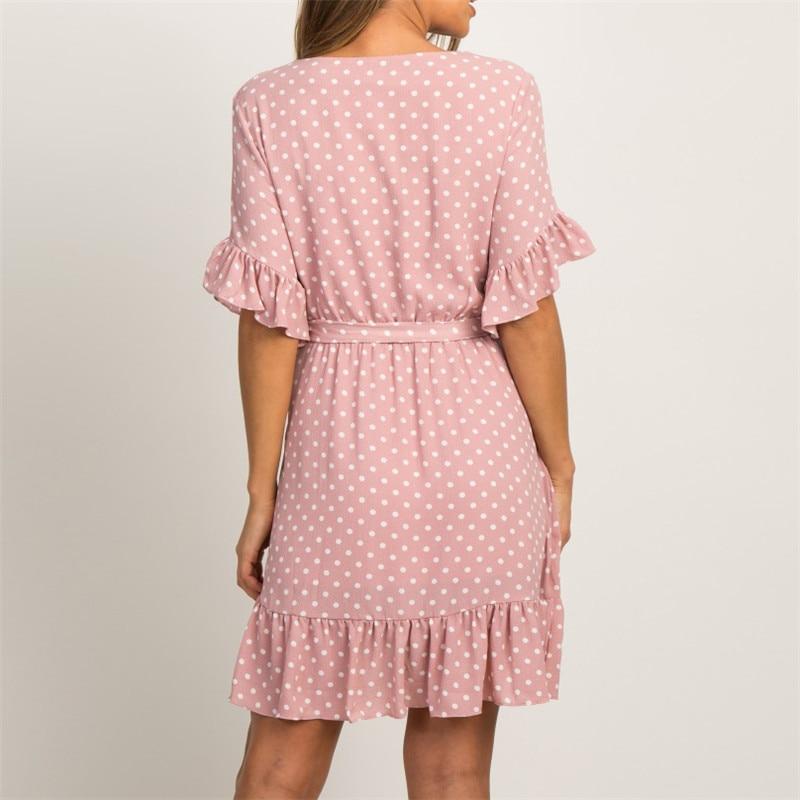 Summer Chiffon Dress 2019 Boho Style Beach Dress Fashion Short Sleeve V-neck Polka Dot A-line Party Dress Sundress Vestidos 2