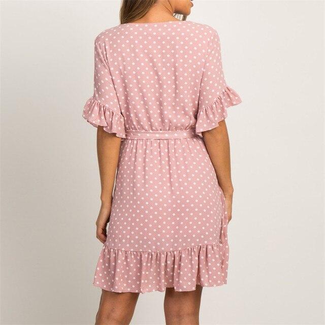 Fashion Short Sleeve V-neck Polka Dot A-line Party Beach Dress 3