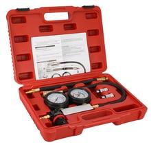 Compression Leakage Detector Kit Set Auto Cylinder Leak Tester Petrol Engine Gauge Tool Kit Double Gauge System with Case недорого