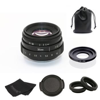Fuji an 35mm f1 6 C mocowanie kamery obiektywy kamery przemysłowej II + C pierścień pośredni + makro dla fuji fuji film X-Pro1 (C-FX) tanie i dobre opinie KEFU 12 Ostrza Człowieka Instrukcja Standardowy prime Stałej ogniskowej obiektywu F16 0 Brak 151g-200g Kamera cctv 35mm