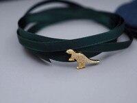 ZOZIRI Hot Sale cool dinosaur Bracelet Monaco 925 Sterling Silver ribbon red green blue Bracelet beauty Women fashion jewelry