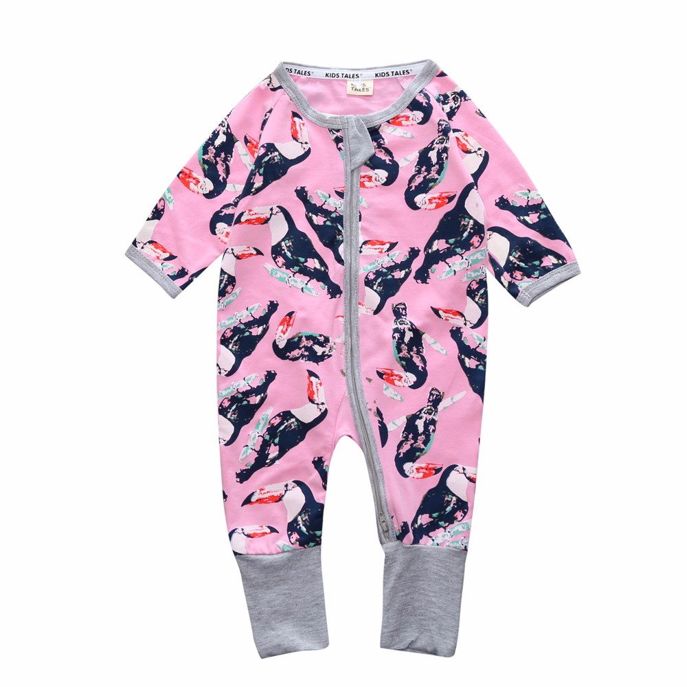 8f9711ffb70d4 Infant Long Sleeve Flower Print Footies Jumpsuit Newborn Baby Boy girls  Clothes Pajamas Bebes Outfits