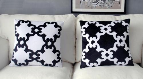 Kussen Wit 18 : Chic zwart wit geometrische kussenhoes fluwelen sierkussen case