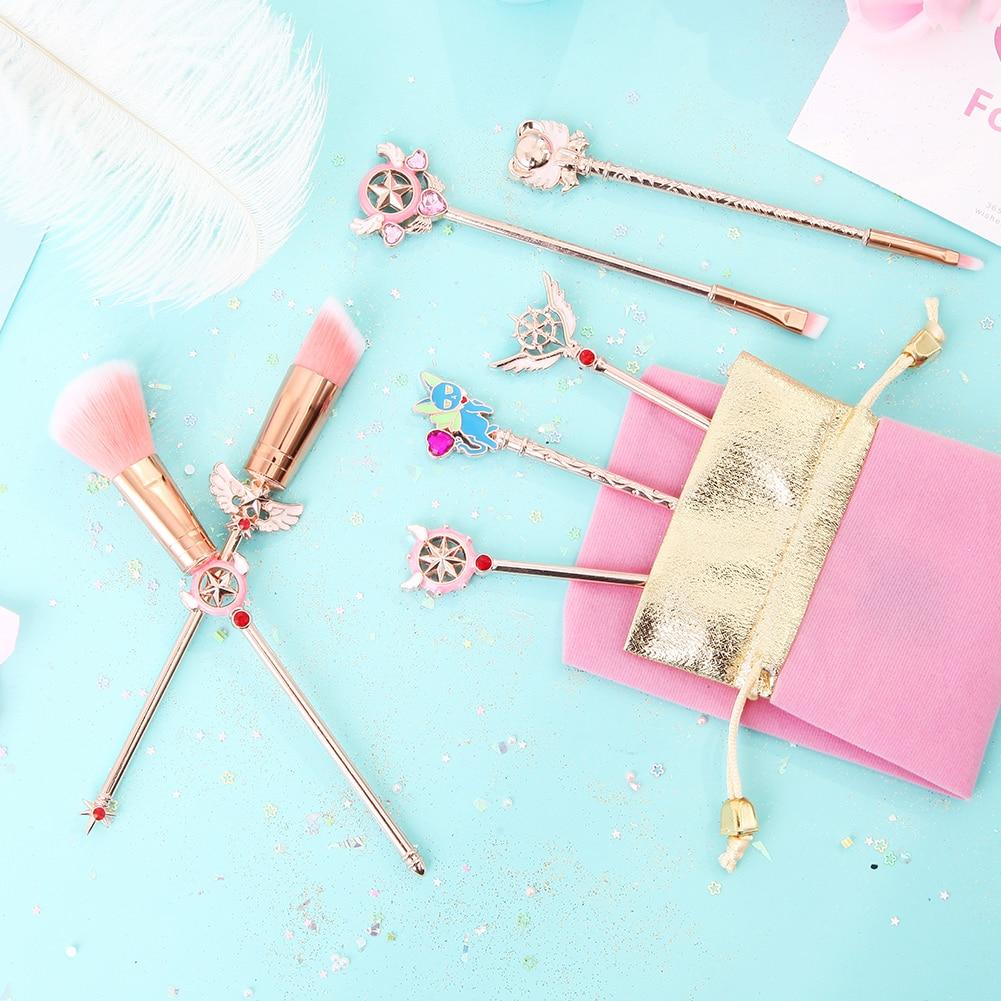 New 7pcs Cardcaptor Sakura Makeup Brush Set Solid Metal Magic Wand Sailor Moon Blending Eyeshadow Brush Kit Teen Girl Gift Brush Makeup