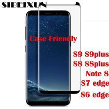Sibeixun Накладка для Galaxy S9 S9 plus Note 8 S8 плюс S7 S6 край 3D закругленный боковой закаленное Стекло Экран протектор в мешок из полиуретана с открытыми порами