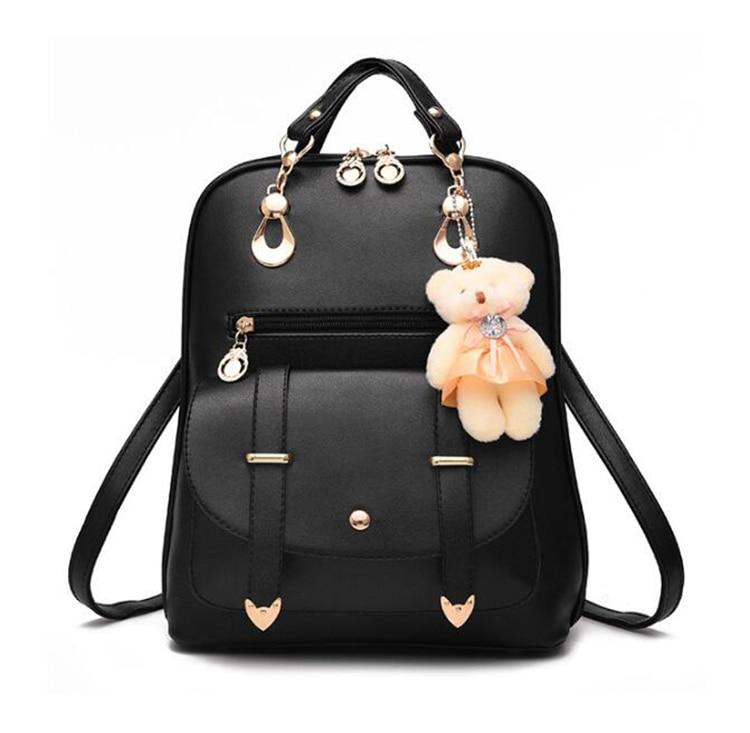 Preppy Style Women Backpack Bear Toys PU Leather Schoolbags for Teenage Girls Female Rucksack Shoulder Bag Travel Knapsack