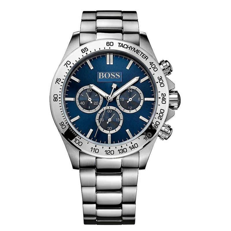Relojes de cuarzo con esfera azul oscuro con correa de acero inoxidable-1512963