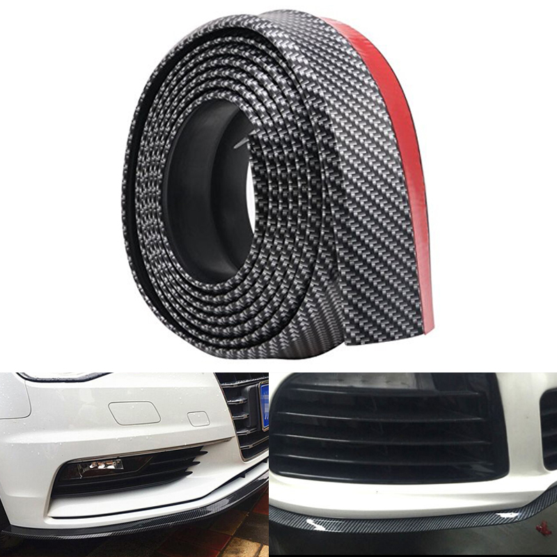 цена на SPEEDWOW 2.5m/8.2ft Universal Car Front Bumper Lip Splitter Carbon Fiber Car Rubber Bumper Spoiler Protector Car Bumper Strip