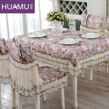 Grado de moda estilo europeo mantel para comedor silla cojín de cubierta de la silla lazo rústico conjunto de paño manteles