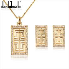 danbihuabi Vintage G Style Earrings Pendant Necklace Set Women Gift New Trendy Rhinestone dubai Jewelry Sets