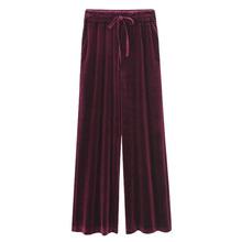 Plus rozmiar aksamit szerokie spodnie nogi kobiet jesień zima spodnie luźne duży rozmiar wysoka talia spodnie dresowe spodnie na co dzień kobiety spodnie tanie tanio Poliester Pełnej długości Suknem Elastyczny pas Malowane Stałe Mieszkanie wide leg pants BO1427 NUFASLOS M L XL 2XL 3XL 4XL 5XL 6XL Plus Size Trousers