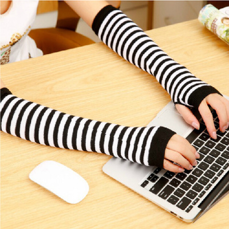 Unisex Winter Long Gloves Women Men Fashion Striped Knitted Fingerless Gloves Women Arm Warmer Glove Mittens Gants Femme
