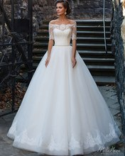 Generous Lace Bodice Ball Gown Wedding Dress 2016 Off the Shoulder Half Sleeves with Belt White Bridal Gowns vestido de noiva