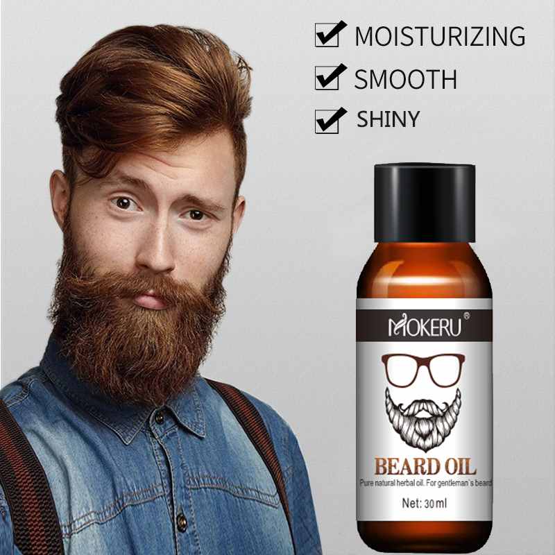 Mokeru 100% Natural Organic Men Beard Growth Oil Products Hair Loss Treatment Conditioner For Groomed Fast Beard Growth 30ml 1