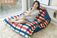 Factory Direct Custom Lazy Chair Creative Leisure Bean Bag (filler included)Red Yellow Blue Plaid Swim Spa Sofa Lazy Bones