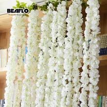 140 см искусственные цветы Виноградная лоза домашнее свадебное украшение сада белые Искусственные цветы гирлянда из ротанга фестиваль Висячие шелковые цветы