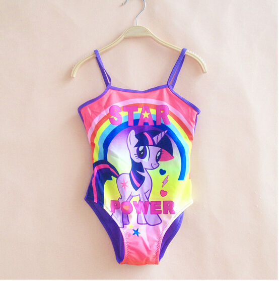 newest kids girl swimwear cute baby little pony swimsuit lovey kids